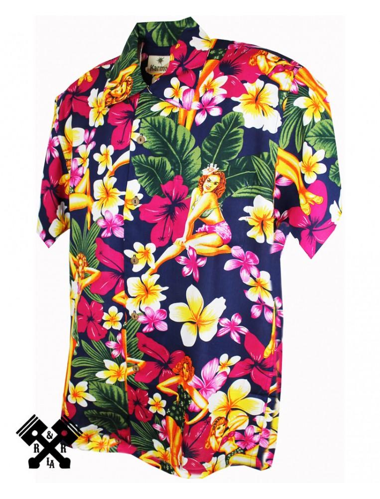 Karmakula Camisa Hawaiana Pinup Blue para mujer