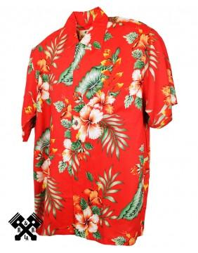 Karmakula Camisa Hawaiana Venezuala Rojo para hombre