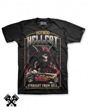 Camiseta Straight From Hell marca Hotrod Hellcat  para hombre, espalda