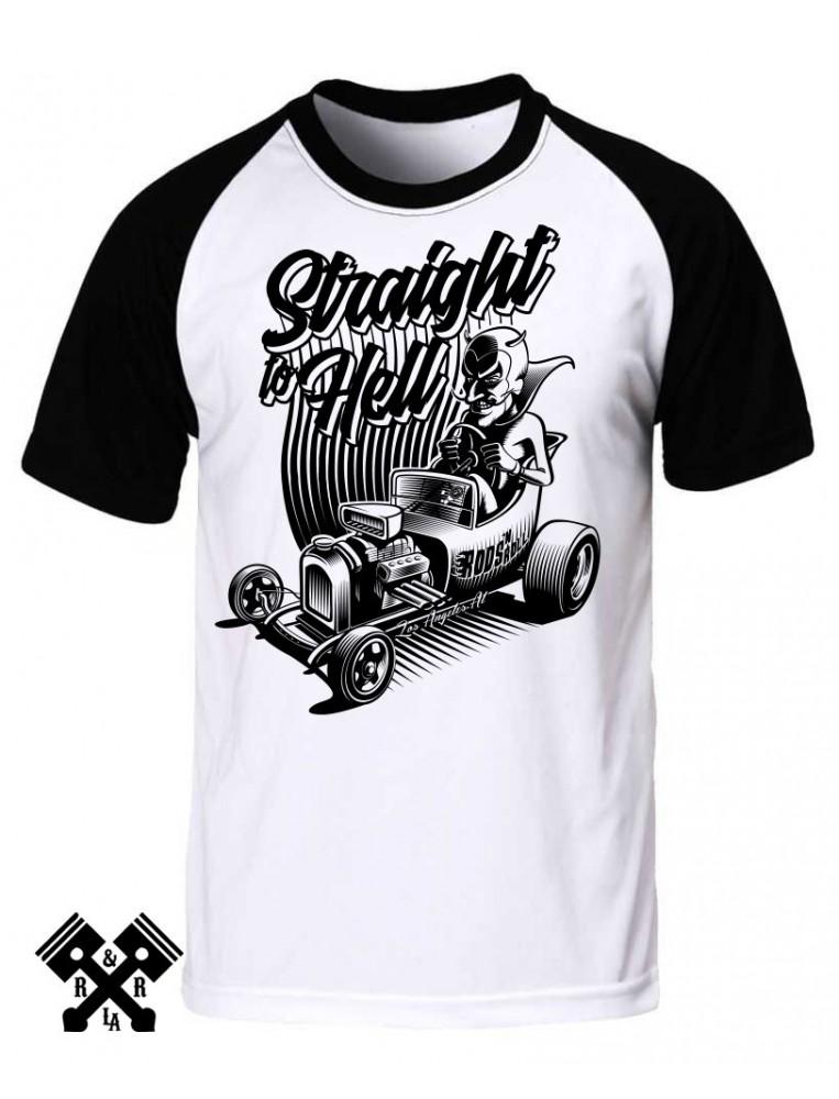 Camiseta raglan straight to hell para hombre de la marca Rods 'N' Roll