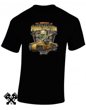 Camiseta negra Creeprunners Frankenstein para hombre de la marca Rods 'N' Roll