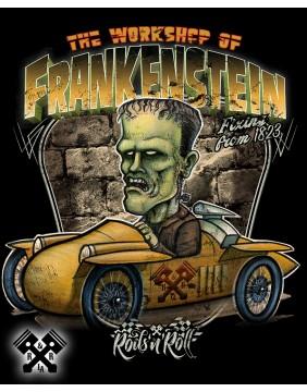 Camiseta negra Creeprunners Frankenstein para hombre de la marca Rods 'N' Roll, detalle
