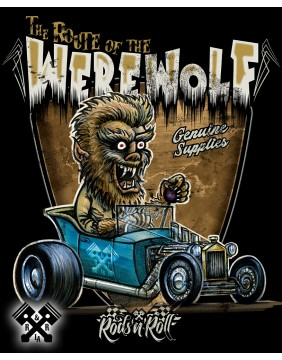 Rods 'N' Roll Creeprunners Werewolf T-shirt for man, close up