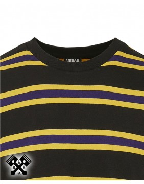 Camiseta manga larga urban classics rayas, detalle