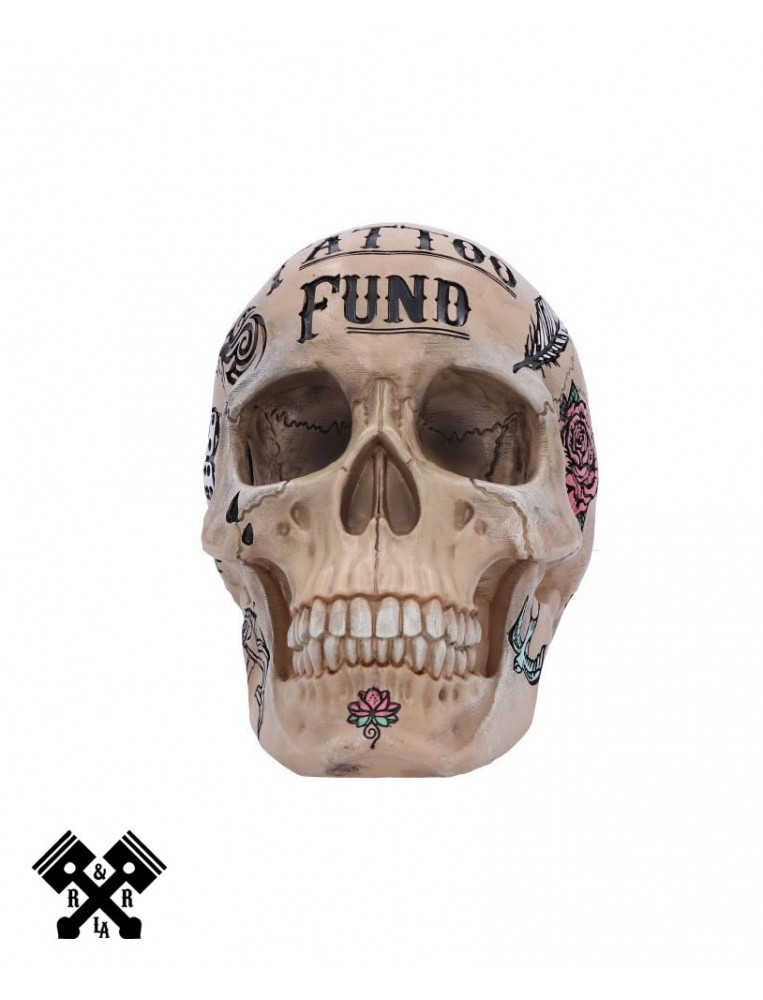 Calavera Hucha Ahorros Tattoo, frontal