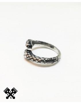 Anillo Acero Doble Serpiente, izquierda