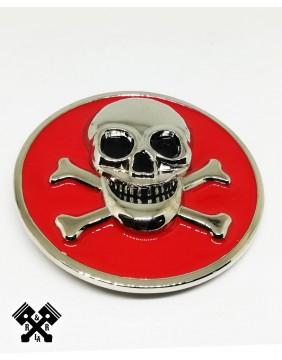 Skull & Bones Belt Buckle, detailed front view