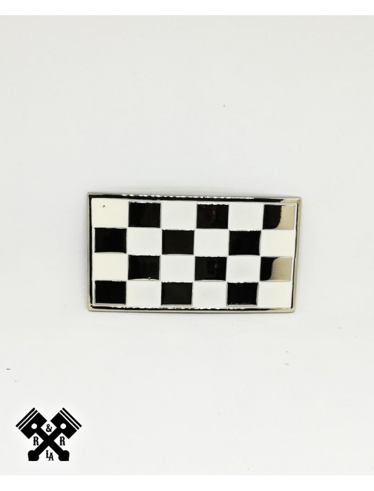 Checked Belt Buckle White, front