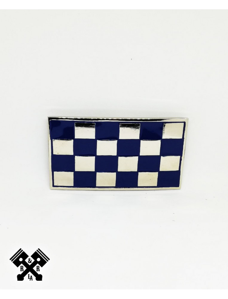 Checked Belt Buckle Blue, front