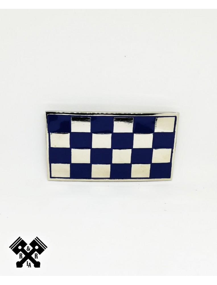 Hebilla Cinturon Cuadros Azul, frontal