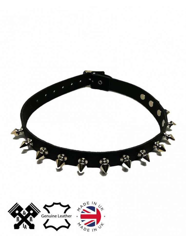 1 Row Spikes Leather Choker, front