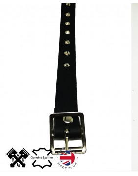 1 Row Small Conical Leather Choker, detail