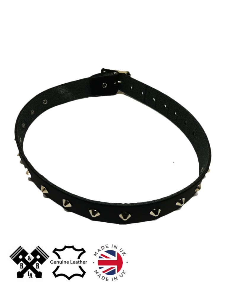 1 Row Small Conical Leather Choker, front