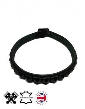 1 Row Pyramid Leather Choker Flat Black, front