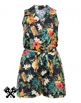 Queen Kerosin Vintage Tropical Jumpsuit, front