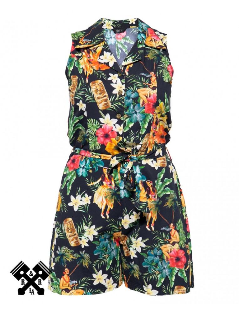 Queen Kerosin Vintage Tropical Jumpsuit, front