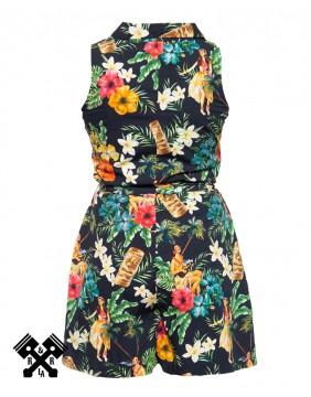Queen Kerosin Vintage Tropical Jumpsuit, back