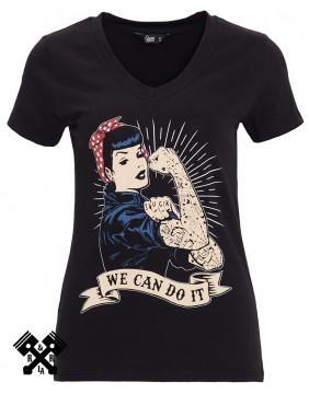 Camiseta Negra Queen Kerosin, We can do it, frontal