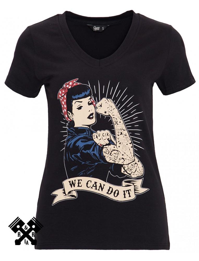 Queen Kerosin We can do it black T-shirt, front