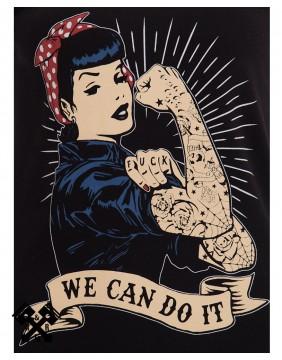 Camiseta Negra Queen Kerosin, We can do it, impresión