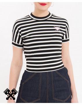 Queen Kerosin Stripes Cropped Top, front model