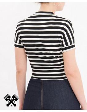 Top a rayas corto marca Queen Kerosin, espalda con modelo