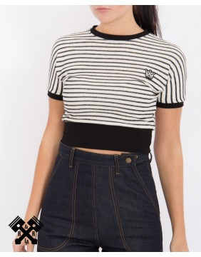 Queen Kerosin Stripes Cropped Jumper, front