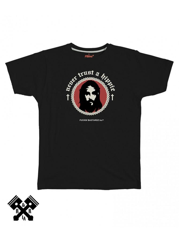 Camiseta de hombre color negro never trust a hippie marca FBI