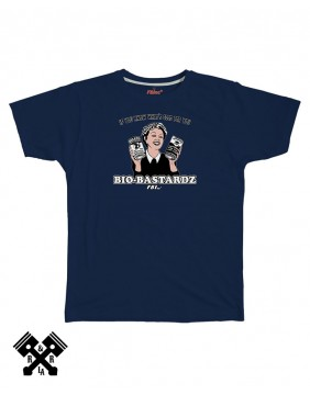 Camiseta azul, Bio Bastardz, marca FBI