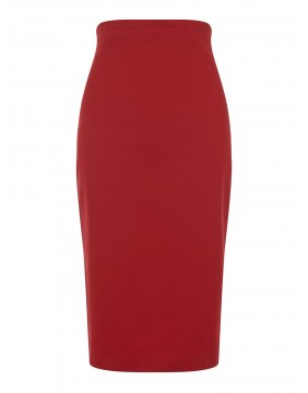 Collectif Fiona Red Skirt Plain, front view