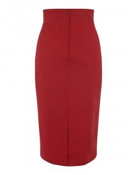 Falda Tubo Roja Fiona Lisa, marca Collectif, vista de espaldas