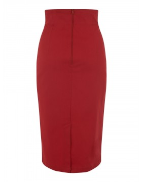 Collectif Fiona Red Skirt Plain, back view