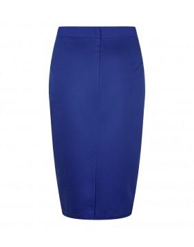Falda Tubo Polly Clásica Azul, marca Collectif, vista de espaldas