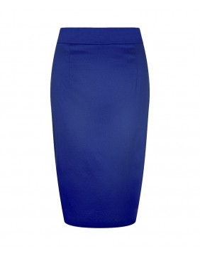 Collectif Polly Classic Blue Pencil Skirt, front view