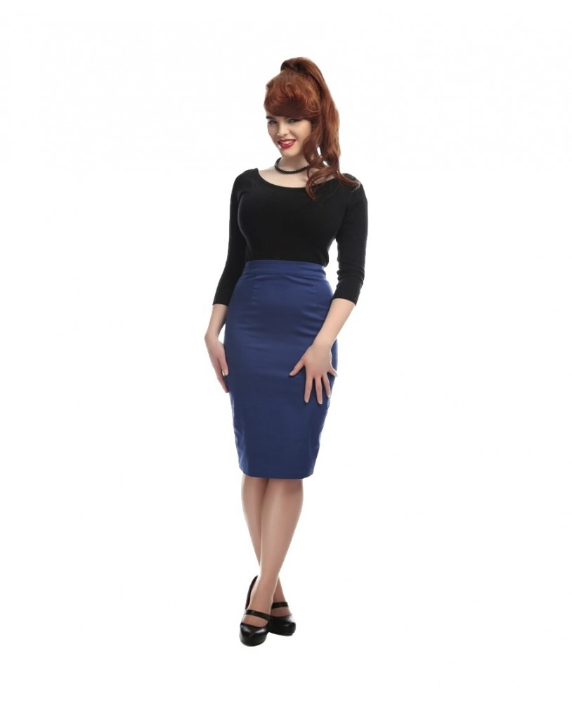 Collectif Polly Classic Blue Pencil Skirt