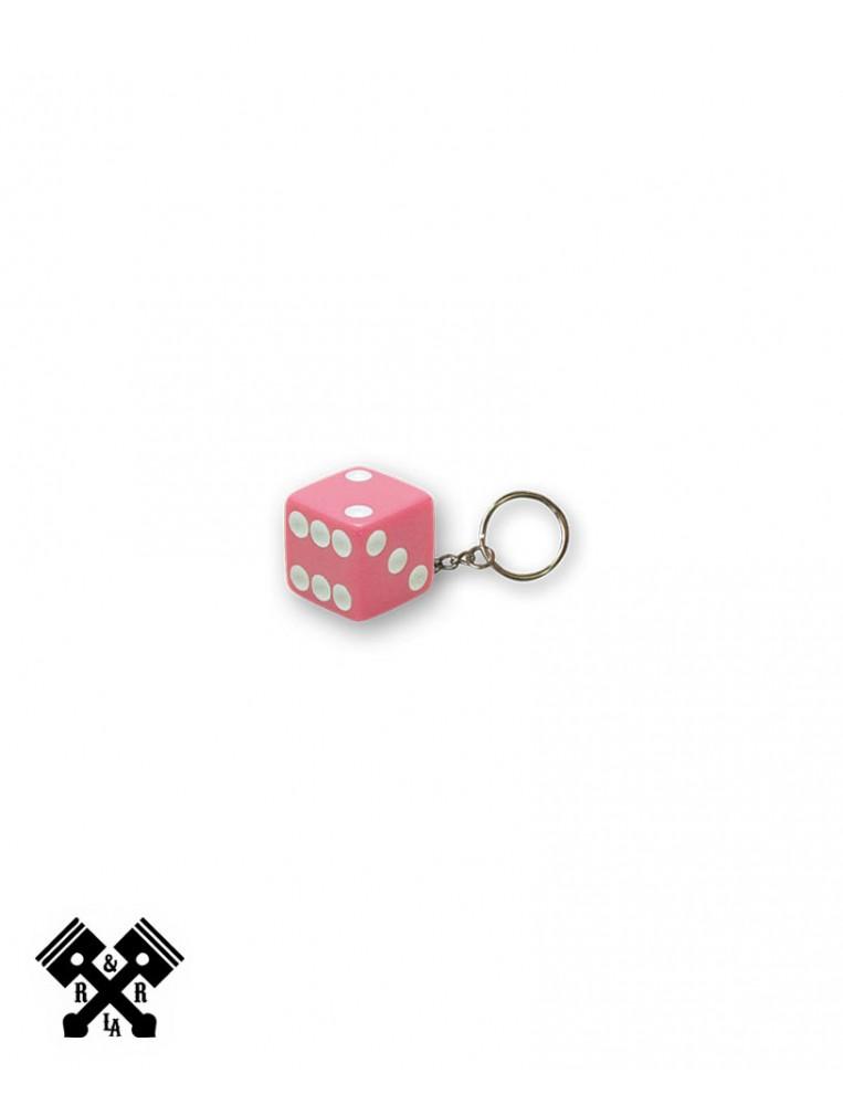 Pink Dice Keychain