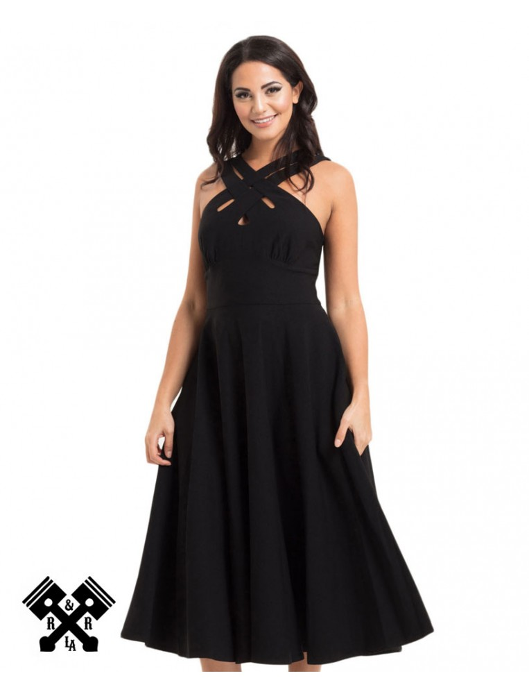 Ava Black Cross Neck Dress, front view