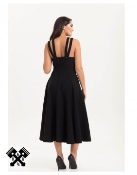 Ava Black Cross Neck Dress, back view