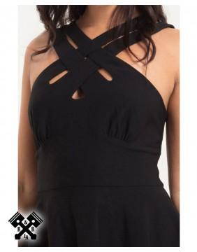 Ava Black Cross Neck Dress, detail