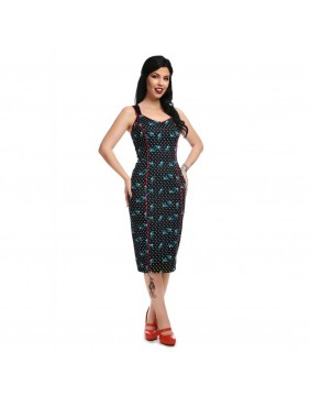 Collectif Samira Rockabilly Swallows Pencil Dress