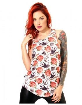 Liquorbrand Camiseta Tirantes Rose Tattoo