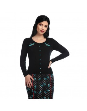 Rockabilly Swallows Cardigan for woman