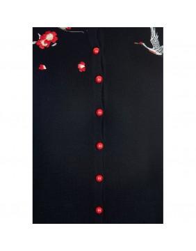 rebeca negra de punto bordada detalle bordado y botones