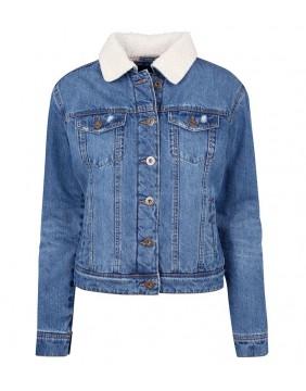 chaqueta de borrego azul para mujer marca urban classics