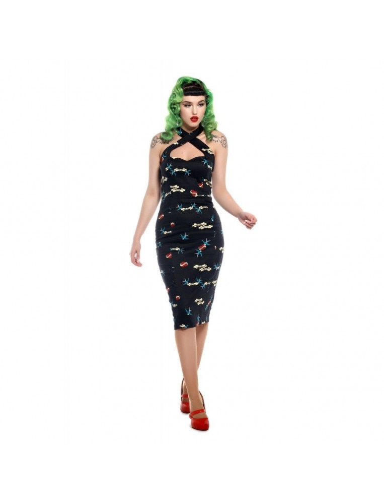 Girl wearing Collectif Penny True Love Pencil Dress